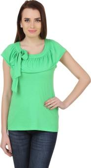Cherymoya Solid Women's Round Neck Green T-Shirt