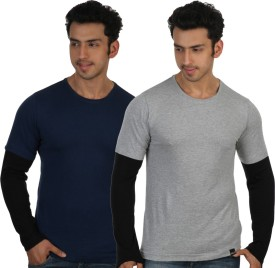 Rigo Blue Solid Men's Round Neck T-Shirt (Pack Of 2)