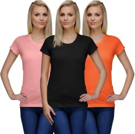 Nitlon Solid Women's Round Neck Black, Orange, Pink T-Shirt Pack Of 3