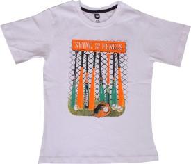 612 League Printed Boy's Round Neck White T-Shirt