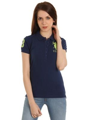 ca33d856 U.S. Polo Assn. Solid Women's Polo T-Shirt at Flipkart