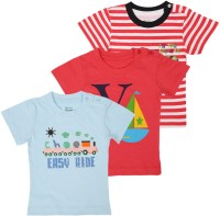 Ohms Printed, Striped Baby Boy's Round Neck Red, White, Blue T-Shirt (Pack Of 3)