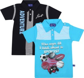SPN Garments Printed Boy's Polo Neck Dark Blue, Blue T-Shirt