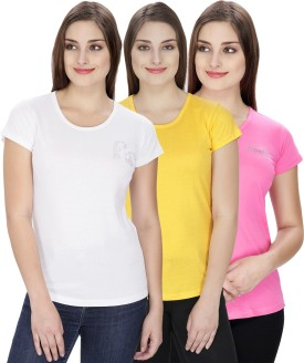 NGT Solid Women's Round Neck White, Pink, Yellow T-Shirt Pack Of 3