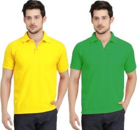 KRAZY KATZ Solid Men's Polo Neck Yellow, Light Green T-Shirt Pack Of 2