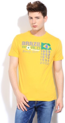 Bossini Bossini Printed Men's Round Neck T-Shirt (Yellow)