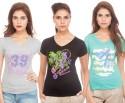 TSG Breeze Printed Women's V-neck T-Shirt - Pack Of 3 - TSHDRKJZPHKGVUG6