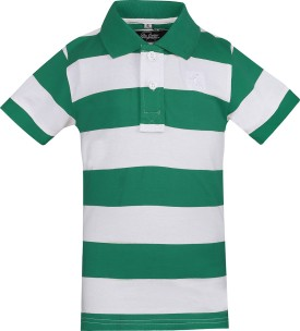 The Cotton Company Striped Boy's Polo Neck Green, White T-Shirt