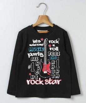 Beebay Printed Boy's Polo Neck Black T-Shirt