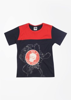 CHERISH Printed Boy's Round Neck Dark Blue, Red T-Shirt