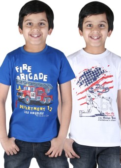 Childrens Club Printed Boy's Round Neck Blue, White T-Shirt Pack Of 2