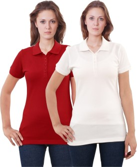 Sportking Cotton Solid Women's Polo Neck T-Shirt Pack Of 2