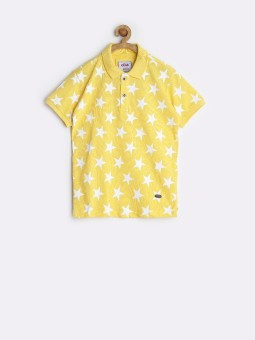 Status Quo Cubs Printed Boy's Polo Neck Yellow T-Shirt