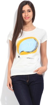 STYLE QUOTIENT BY NOI Printed Women's Round Neck White T-Shirt