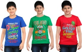Dongli Printed Boy's Round Neck Multicolor, Green, Red T-Shirt Pack Of 3