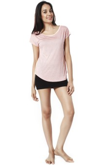 Mystere Paris Printed Women's Round Neck Pink T-Shirt