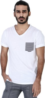 Mr Button Solid Men's V-neck T-Shirt