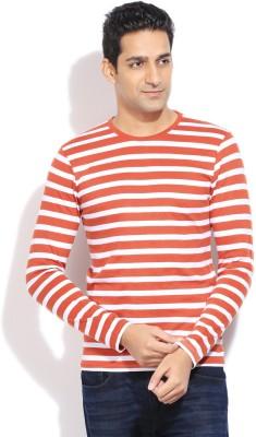 Bossini BOSSINI Striped Men's Round Neck T-Shirt (Brown)
