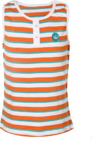 VITAMINS Striped Girl's Round Neck Orange T-Shirt
