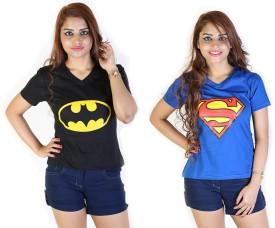Fashion Fakir Printed Women's V-neck Black, Blue T-Shirt Pack Of 2