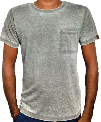 Only White Solid Men's Round Neck T-Shirt