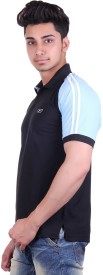 EX10 Solid Men's Polo Neck Black T-Shirt