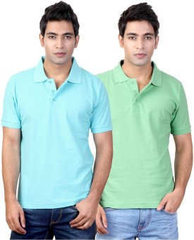 Top Notch Solid Men's Polo Neck Blue, Green T-Shirt Pack Of 2