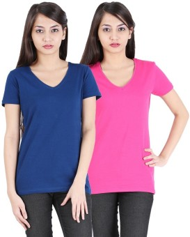 Avarnas Solid Women's V-neck Pink, Dark Blue T-Shirt Pack Of 2