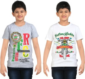 Dongli Printed Boy's Round Neck White, Silver T-Shirt Pack Of 2