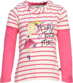 Bells and Whistles Printed Baby Girl's Round Neck White, Pink T-Shirt