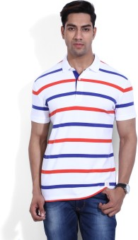 United Colors Of Benetton Striped Men's Polo White, Blue, Orange T-Shirt