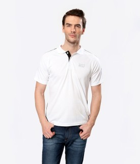 Elligator White Stylish Solid Men's Polo Neck T-Shirt