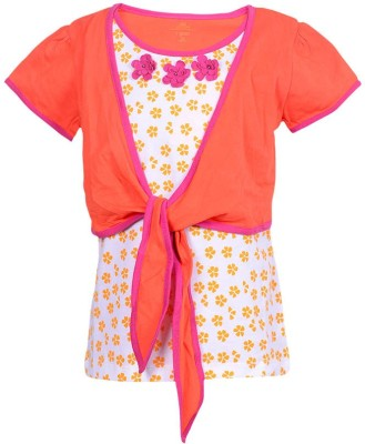 Ello Floral Print Girl's Round Neck T-Shirt
