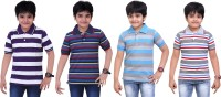 Dongli Striped Baby Boy's Polo Neck Purple, Blue, Light Blue, Grey T-Shirt (Pack Of 4)