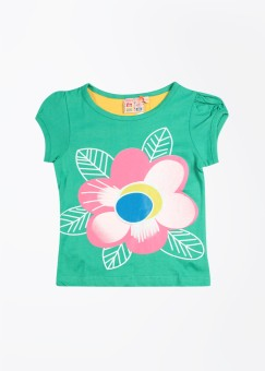 Happy Face Printed Girl's Round Neck T-Shirt