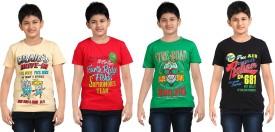 Dongli Printed Boy's Round Neck Beige, Black, Green, Red T-Shirt