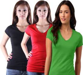 KeepSake Solid Women's V-neck Black, Red, Green T-Shirt Pack Of 3