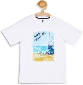 612 League Graphic Print Boy's Round Neck White T-Shirt