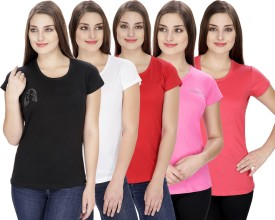 NGT Solid Women's Round Neck Pink, White, Pink, Black, Red T-Shirt Pack Of 5