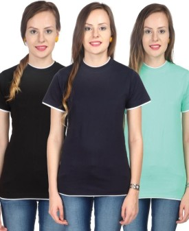 Campus Sutra Solid Women's Round Neck Black, Dark Blue, Green T-Shirt Pack Of 3