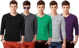 Rodid Solid Men's Henley Black, Grey, Green, Grey, Purple T-Shirt Pack Of 5