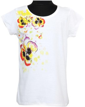 Tales & Stories Floral Print, Solid Girl's Round Neck T-Shirt