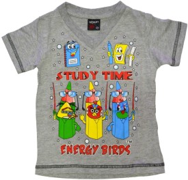 Just In Plus Grey Printed Boy's Round Neck T-Shirt