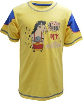 Blueriver Graphic Print Boy's Round Neck Yellow T-Shirt