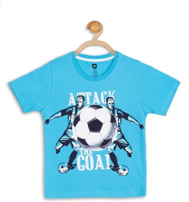 612 League Graphic Print Boy's Round Neck Blue T-Shirt