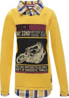 UFO Printed Boy's Round Neck Yellow T-Shirt