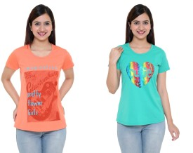 IN Love Graphic Print Women's Round Neck Orange, Green T-Shirt Pack Of 2