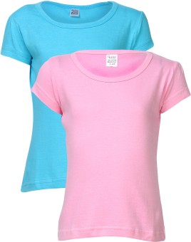 Gkidz Solid Girl's Round Neck T-Shirt (Pack Of 2) - TSHDZWNWCGZVYWYZ