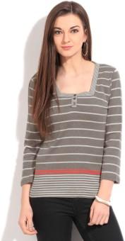 Debenhams-Maine Womens Striped Women's Fashion Neck T-Shirt