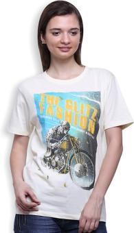 Go India Store Printed Women's Round Neck White T-Shirt - TSHEJ2D9VGAVHG8A